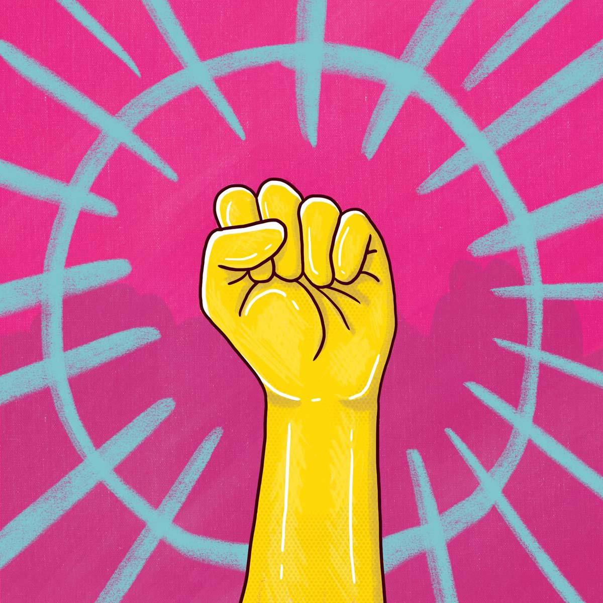 Puño en alto con un guante de goma y colores vibrantes
