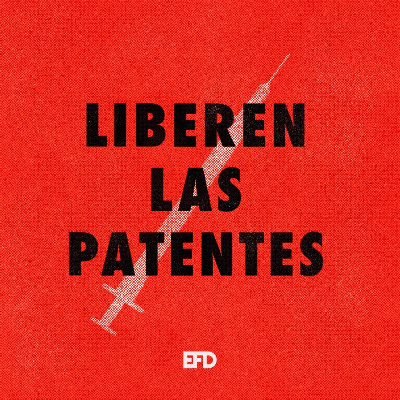 """Sobre un fondo rojo con una jeringa blanca en diagonal se encuentra el texto en negrita y mayúsculas de """"liberen las patentes"""""""